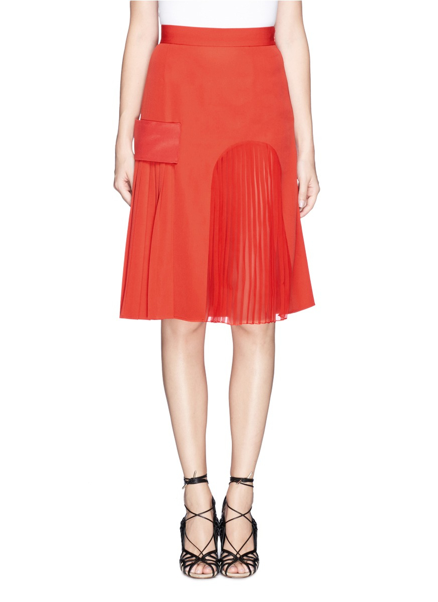 a91071c729 Lyst - Givenchy Satin Band Plissé Pleat Skirt in Red