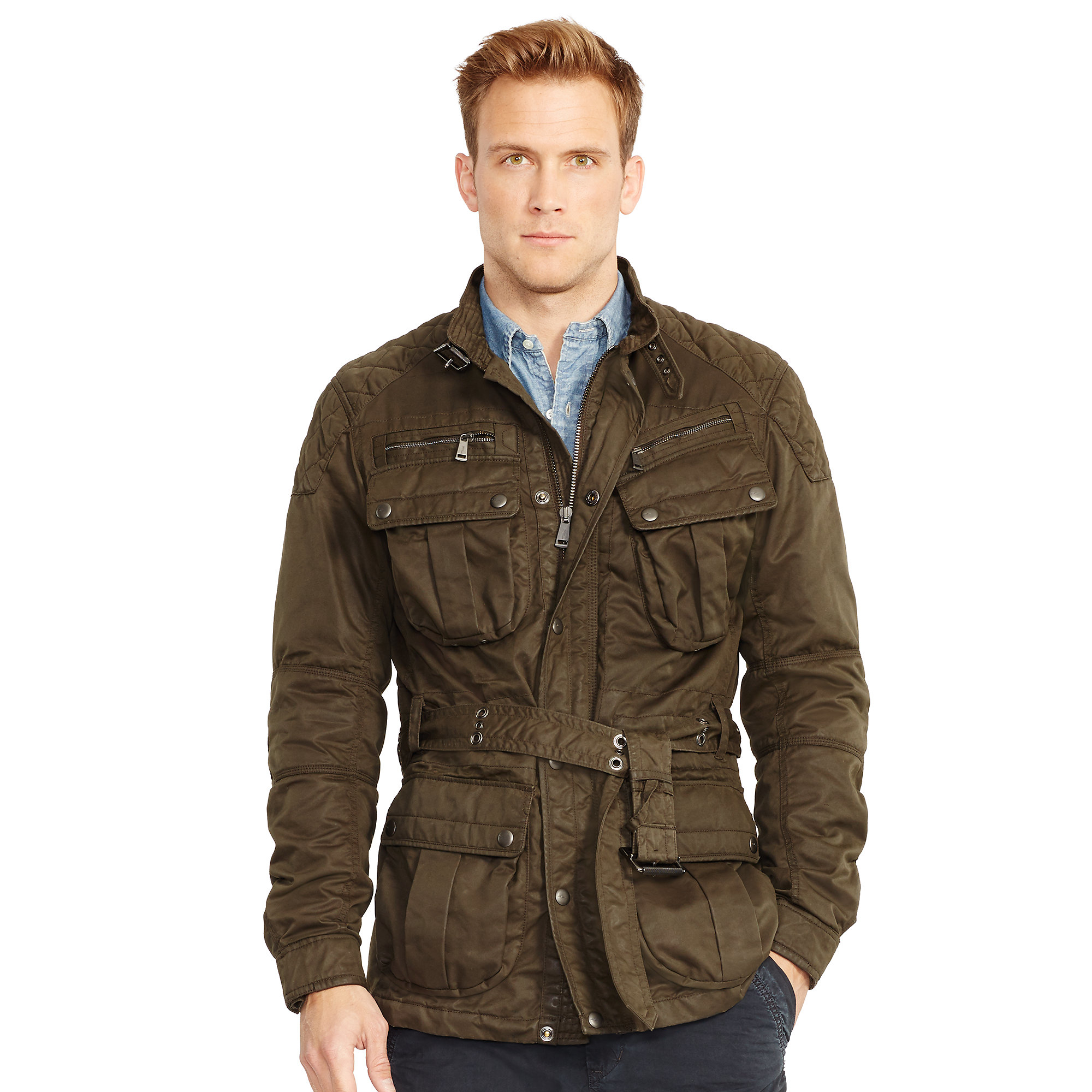 lyst polo ralph lauren belted moto jacket in natural for men. Black Bedroom Furniture Sets. Home Design Ideas