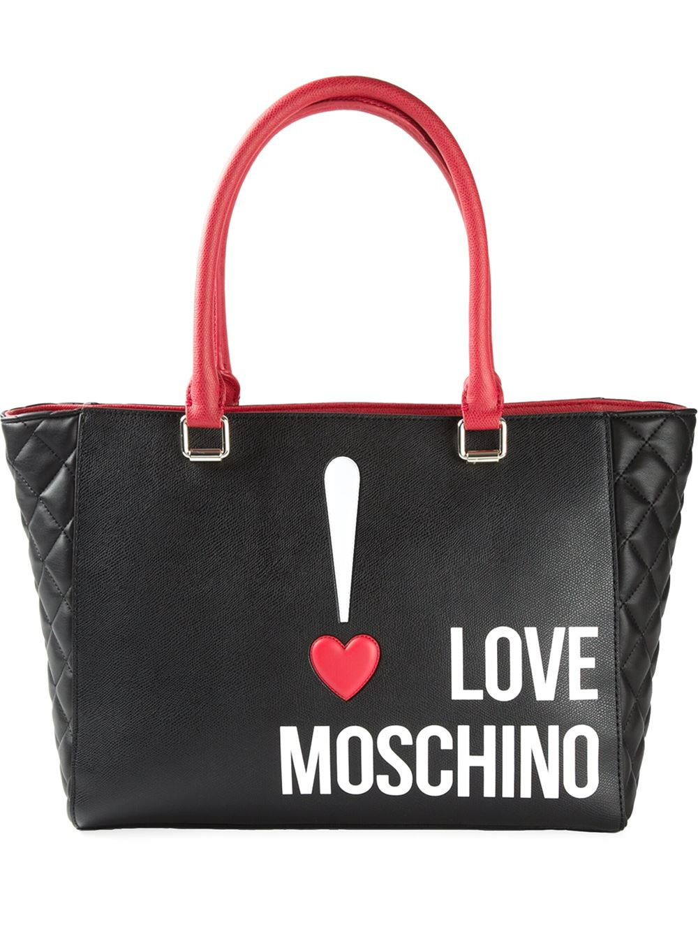 Lyst Love Moschino Quilted Logo Print Tote In Black