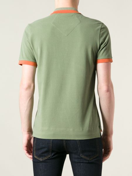 Moncler W Bicolour Polo Shirt In Green For Men Lyst