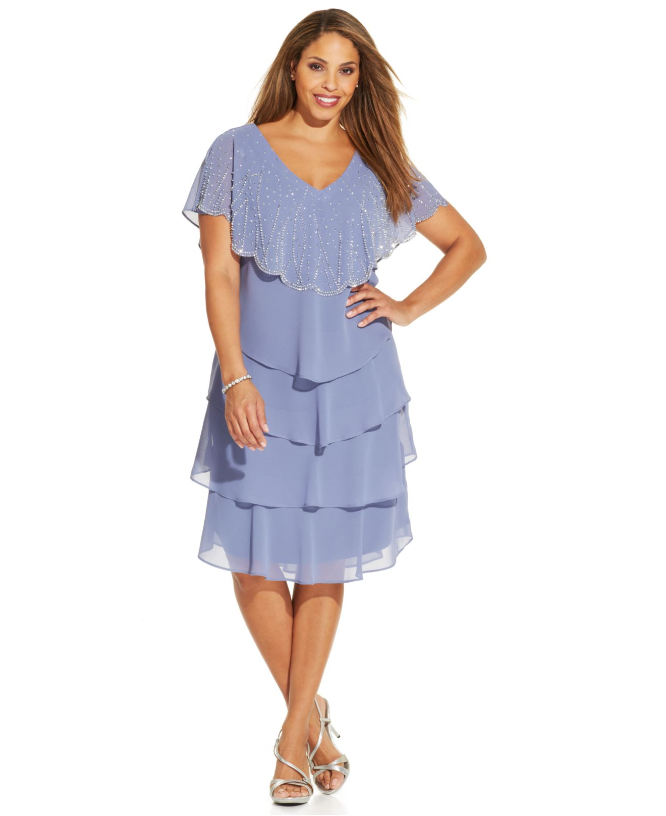 4ecfd69ac09 Patra Plus Size Embellished Tiered Chiffon Dress in Blue - Lyst