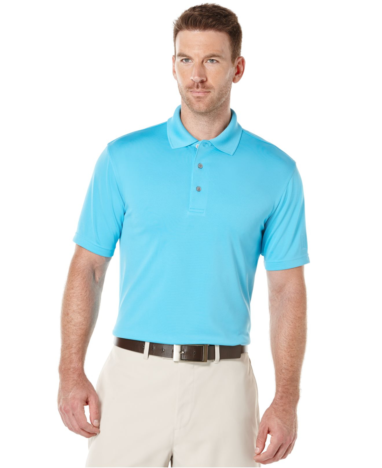 Lyst pga tour men 39 s big tall airflux solid golf polo for Large tall golf shirts