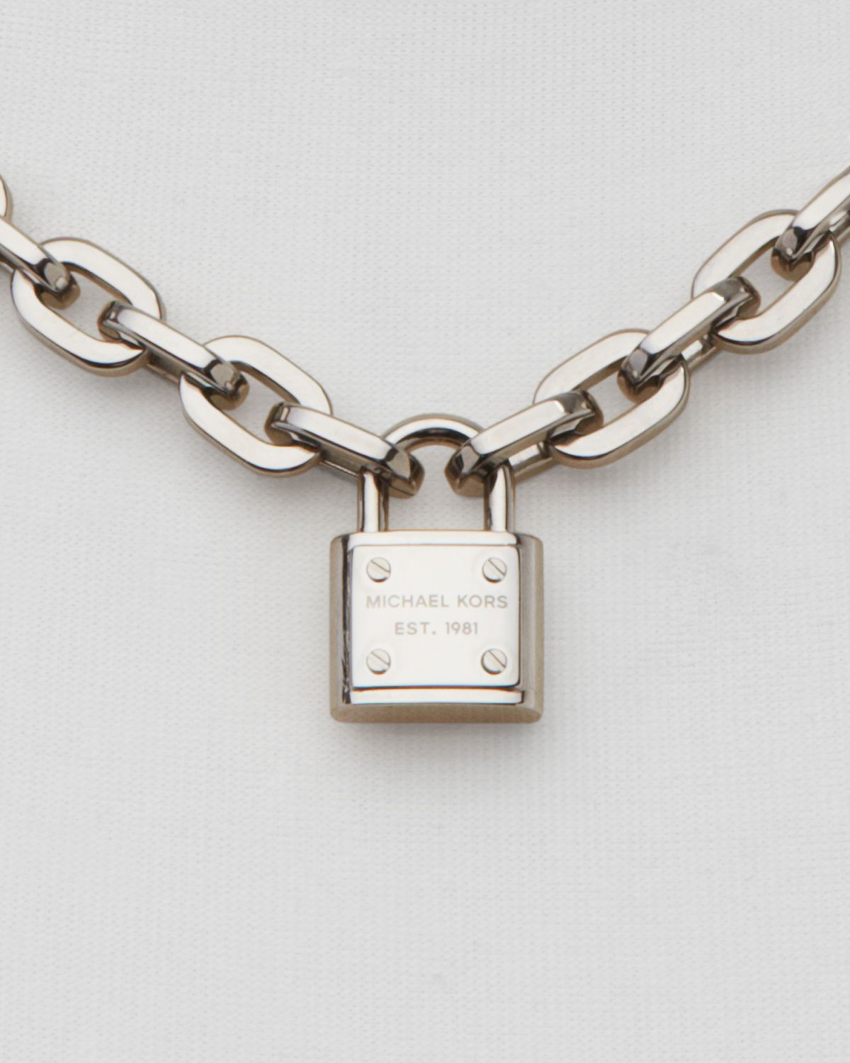 8a4cb03e3b1ee Lyst - Michael Kors Chain Link Padlock Toggle Necklace