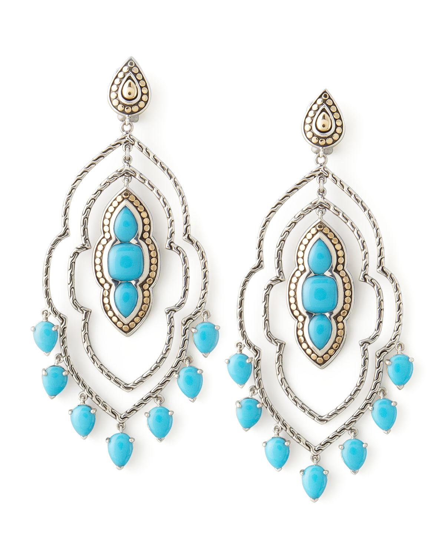 Lyst john hardy batu dot morocco chandelier earrings in blue for John hardy jewelry earrings