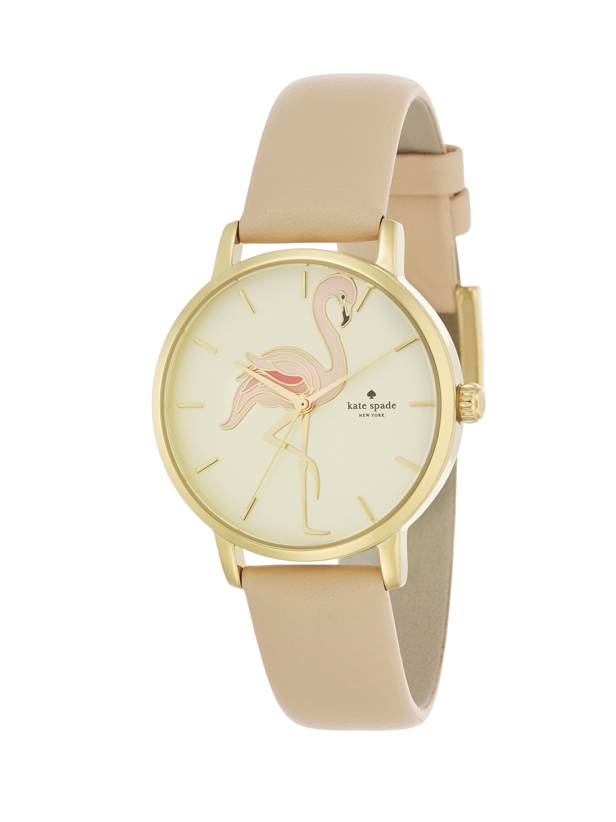 e407895afe8 Kate Spade. Women s Metallic Novelty Metro Flamingo Goldtone Stainless Steel    Leather Strap Watch