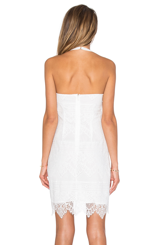 Bobi Open Back Lace Mini Dress In White Lyst