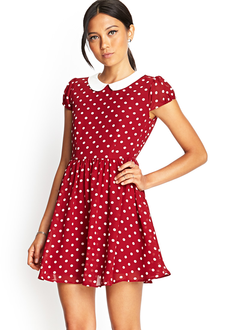 Lyst Forever 21 Polka Dot Fit Amp Flare Dress In Red