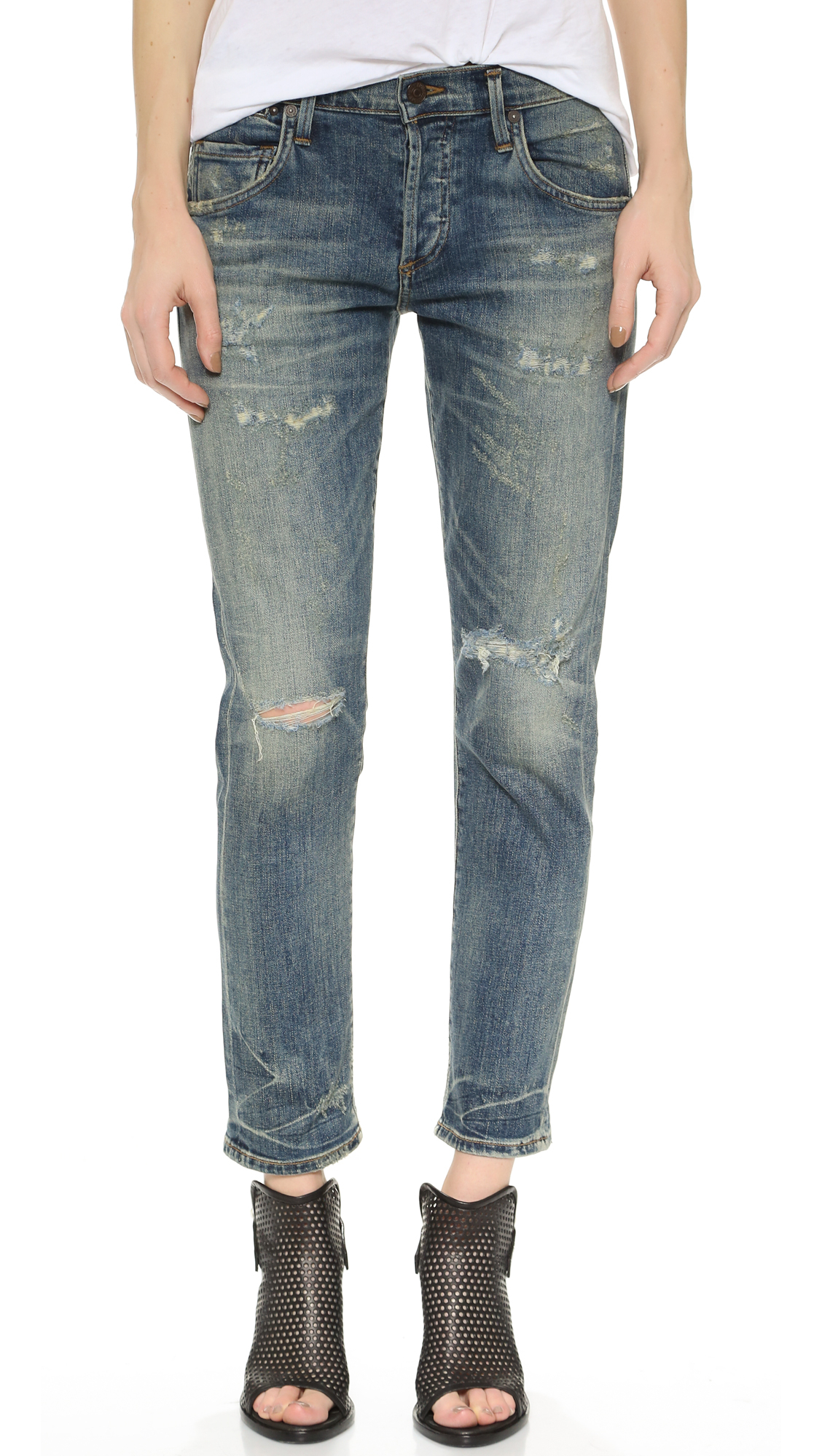 Citizens of humanity Emerson Slim Fit Boyfriend Ankle Jeans - Rip It Up in Blue (Rip It Up) | Lyst
