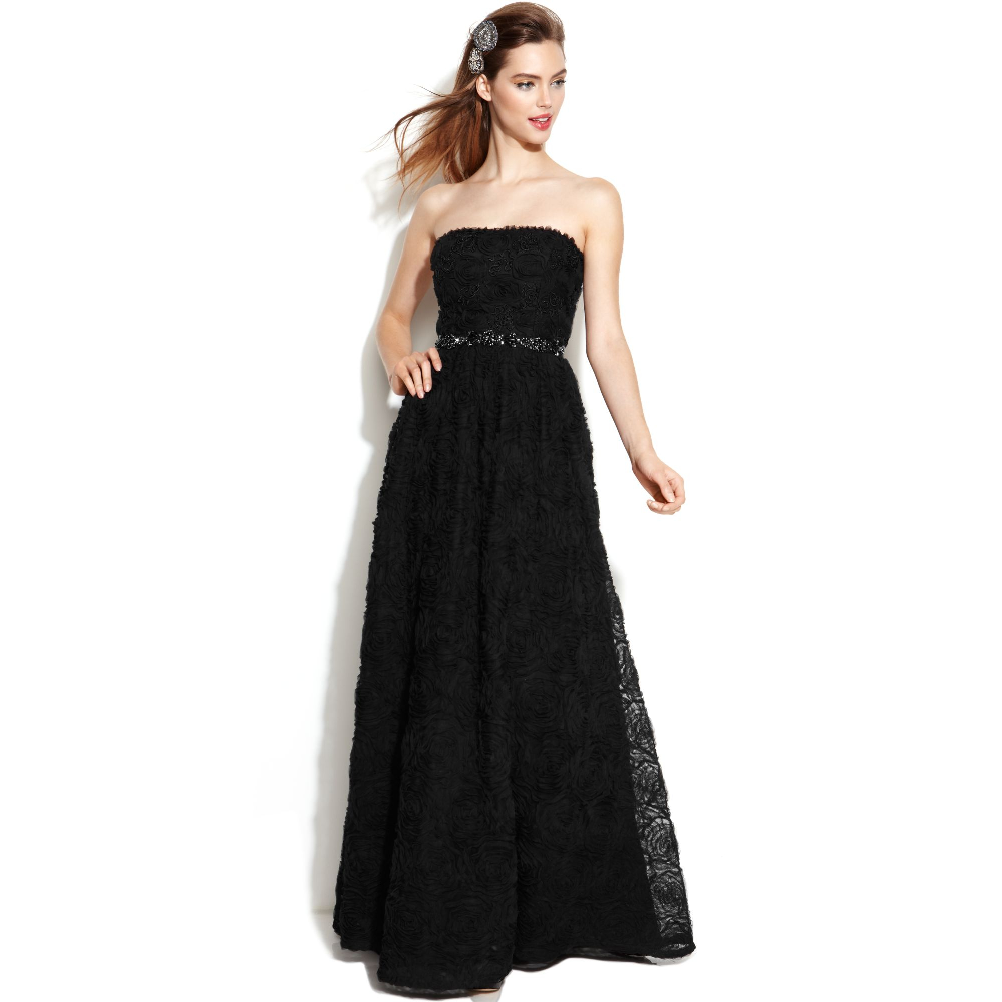 Adrianna papell Strapless Beaded Ball Gown in Black - Lyst