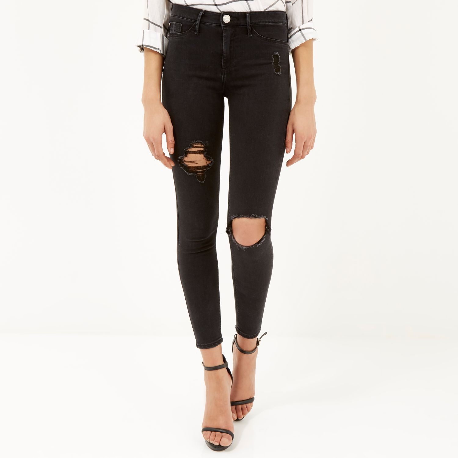 121a91d1665 River Island Washed Black Ripped Molly Jeggings in Black - Lyst
