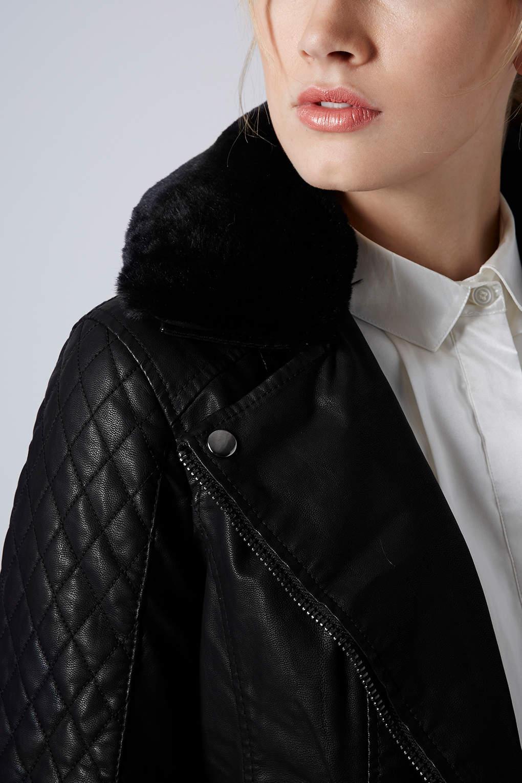 Topshop Fur Collar Biker Jacket In Black Lyst