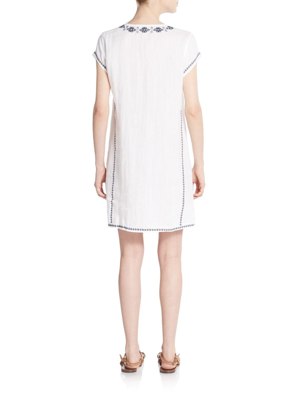 saks fifth avenue embroidered lace front linen shift dress