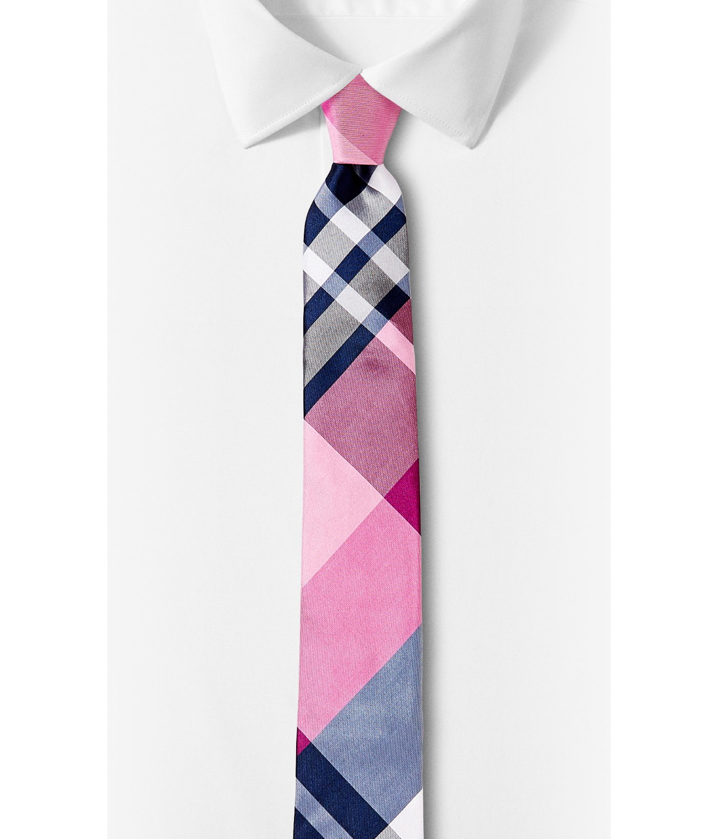 express plaid narrow silk blend tie in for lyst