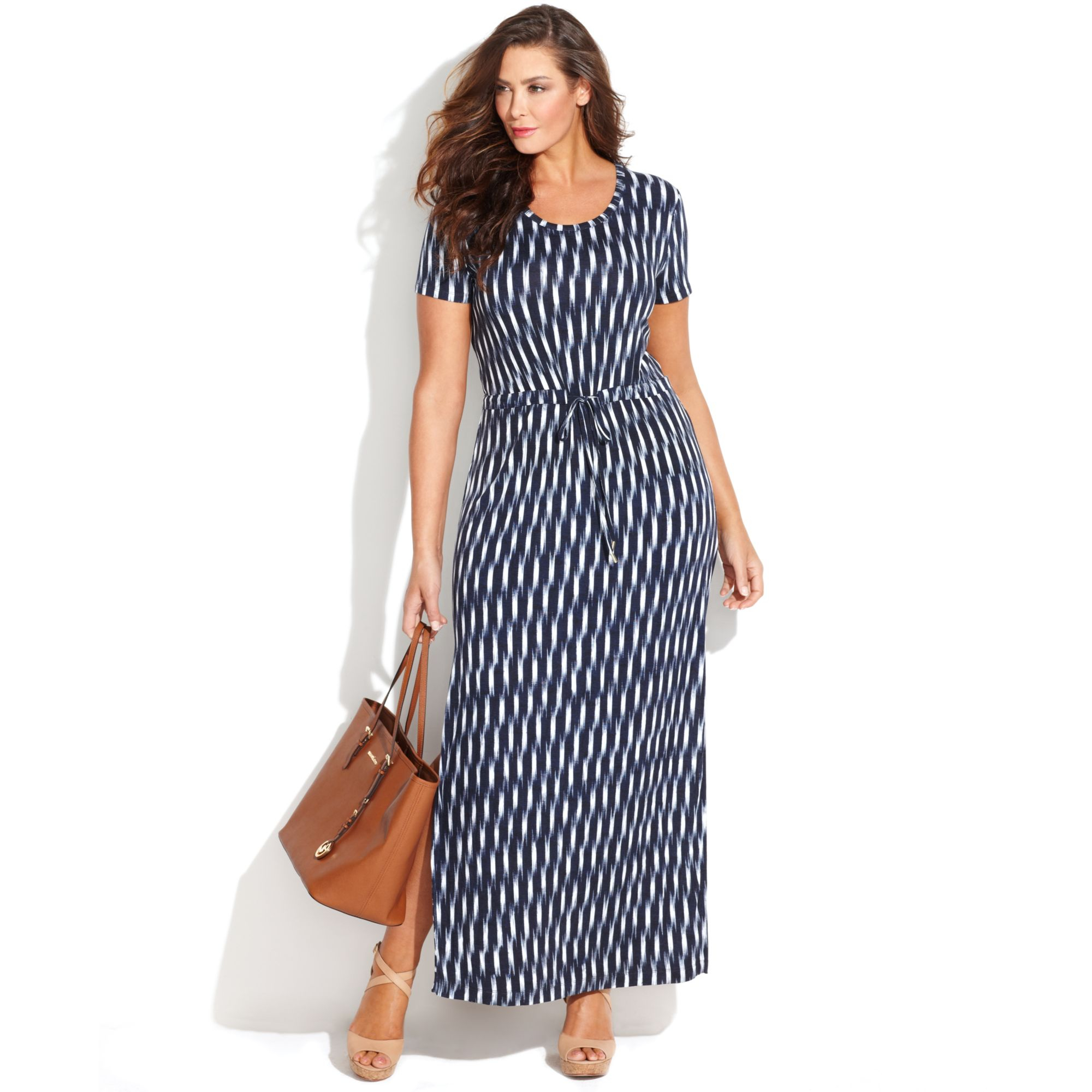 Michael Kors Michael Plus Size Shortsleeve Printed Maxi Dress in ...