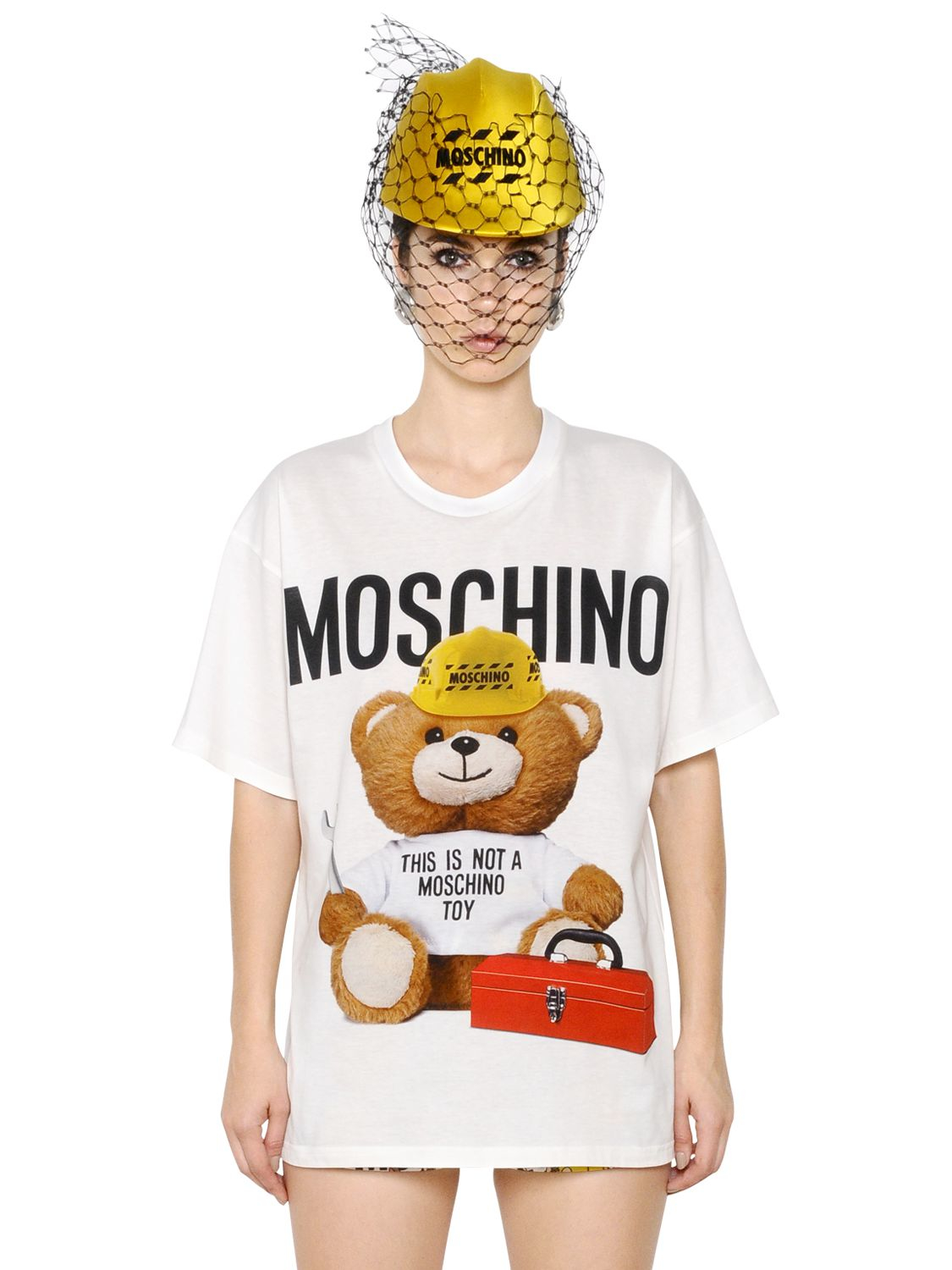596328bff4f Moschino Oversize Teddy Bear Print Jersey T-shirt in White - Lyst