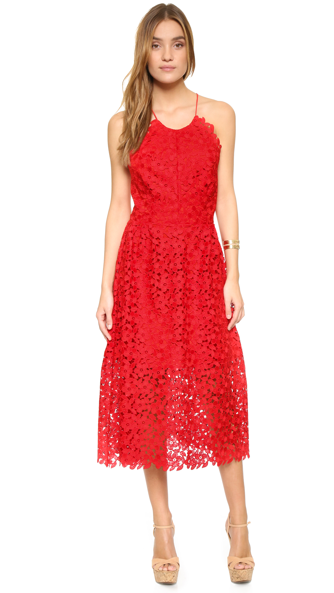 a1a451cc5c Lyst - Cynthia Rowley Lace Back Dress in Red