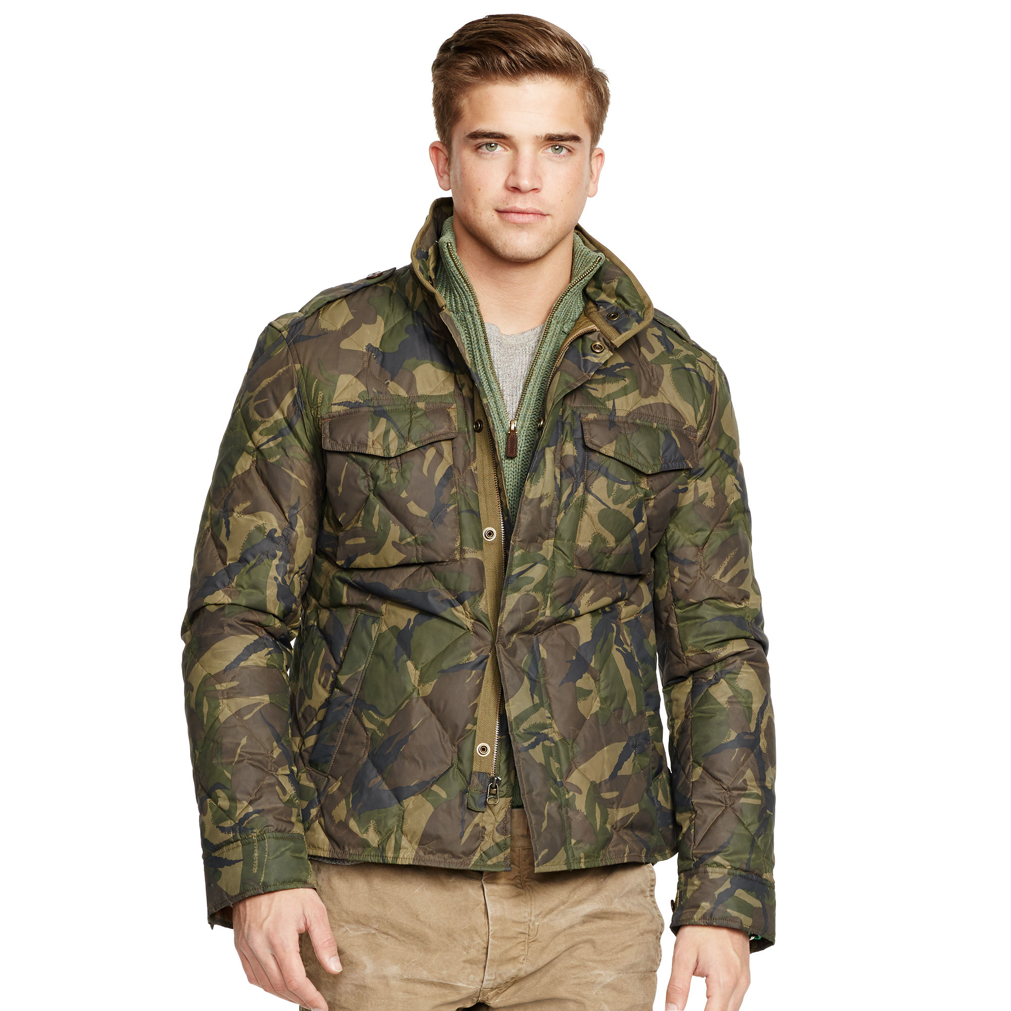 Polo Ralph Lauren Quilted Camouflage Down Jacket In Green