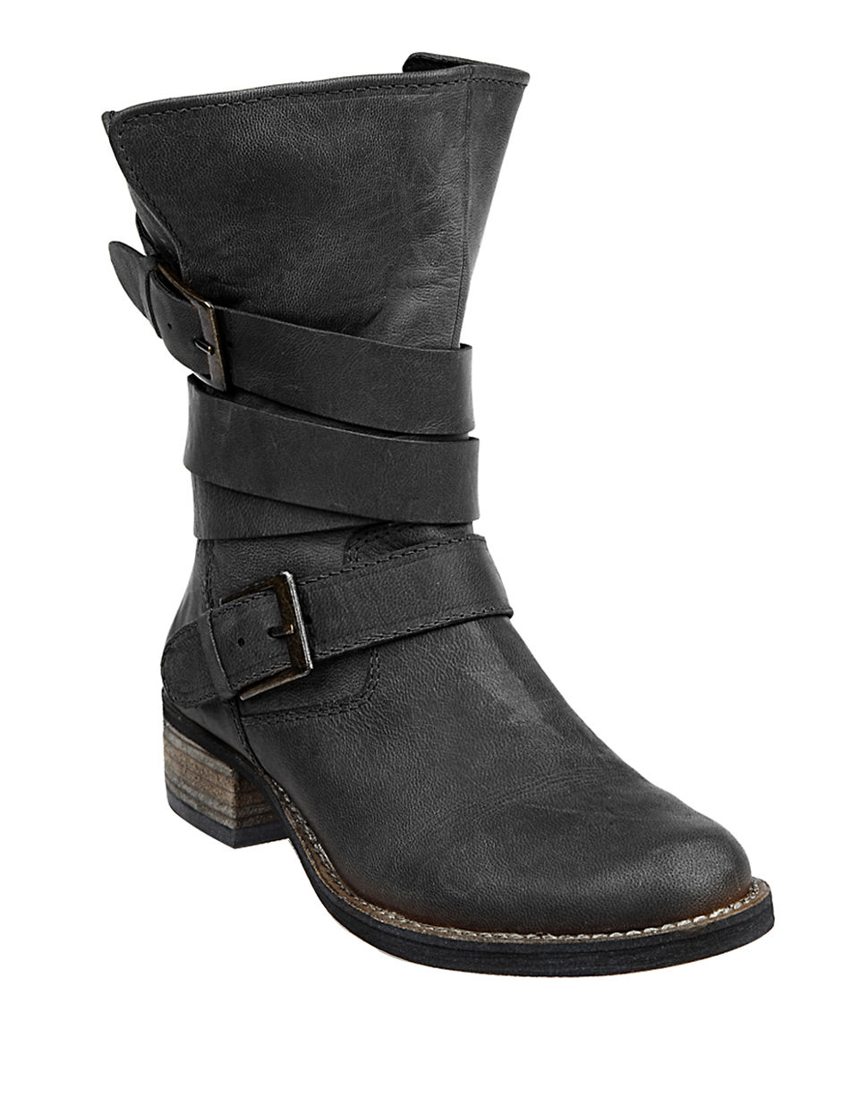 steve madden brewzzer leather banded boots in black lyst