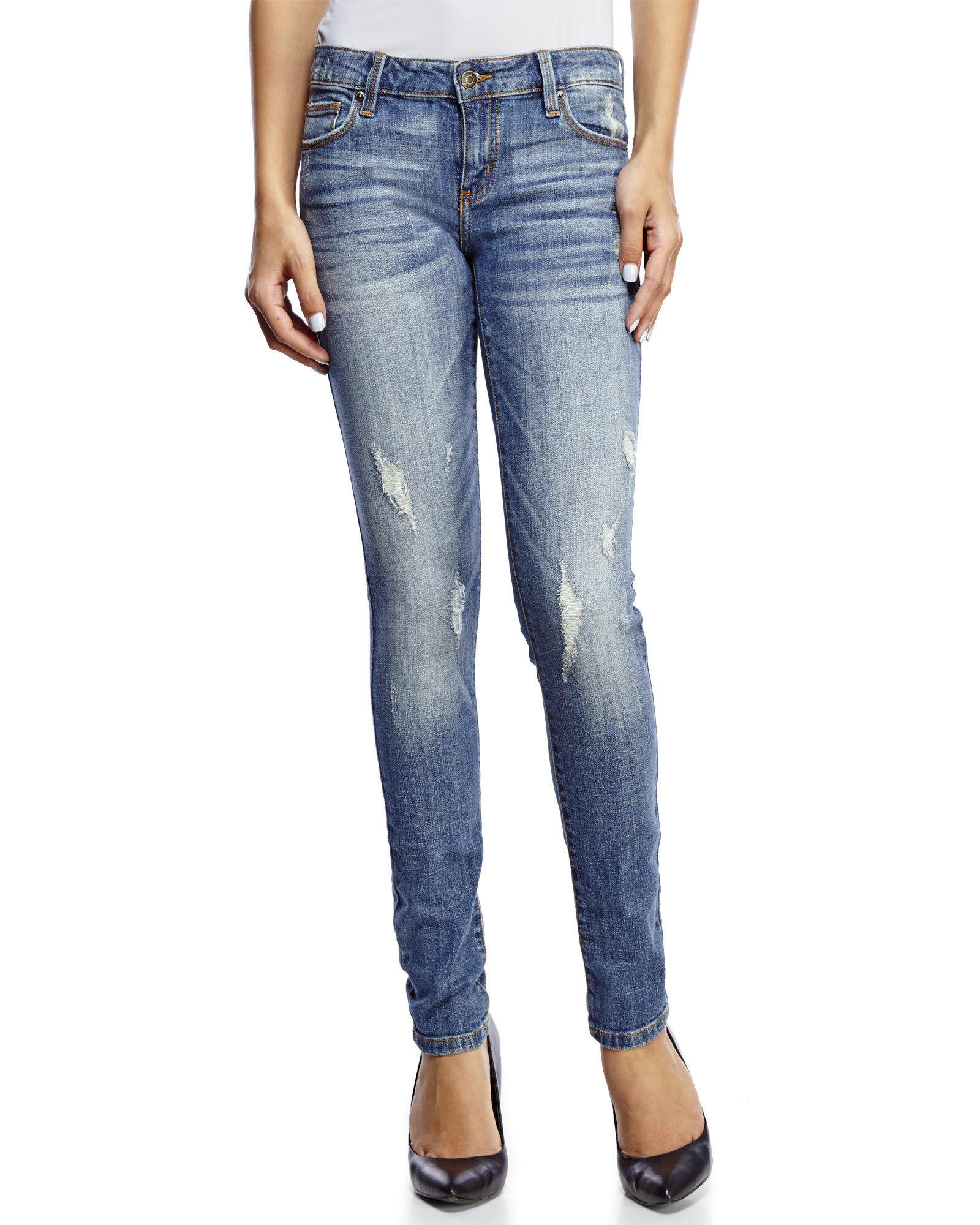 Eunina Low-Rise Distressed Classic Skinny Jeans in Blue   Lyst