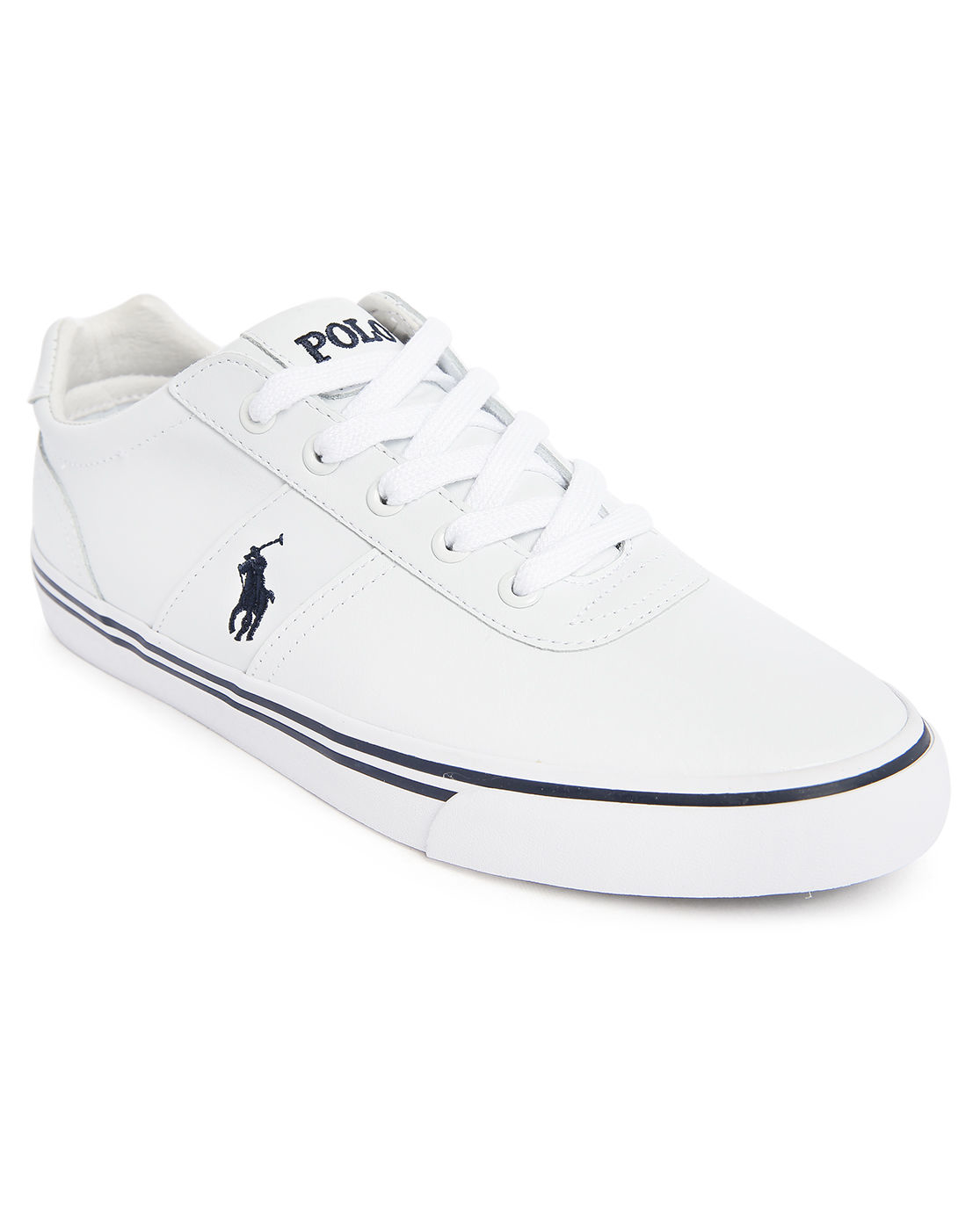 polo ralph hanford mono white leather sneakers in white for lyst