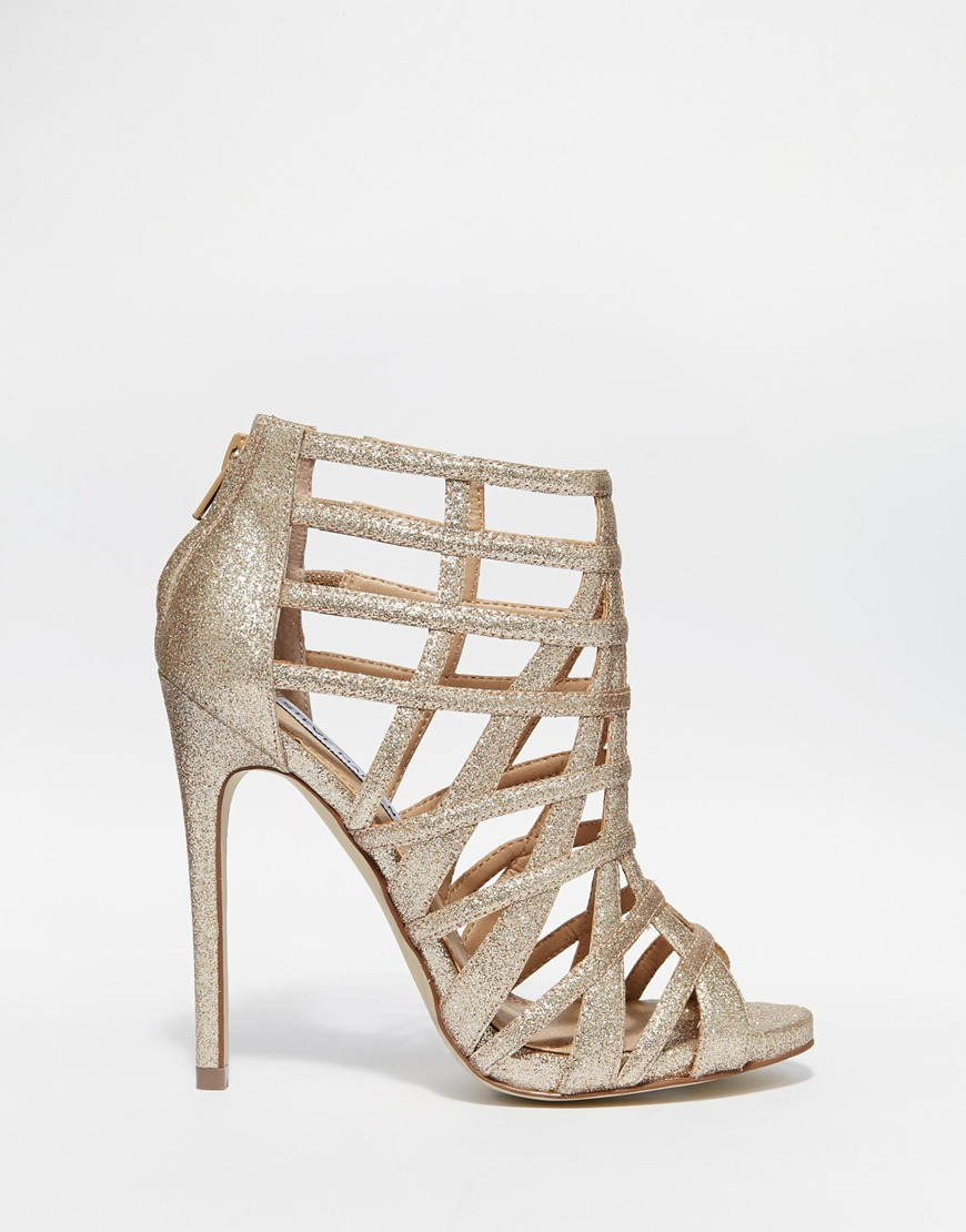 7e72b875420 Lyst - Steve Madden Marquee Gold Embellished Heeled Sandals in Metallic
