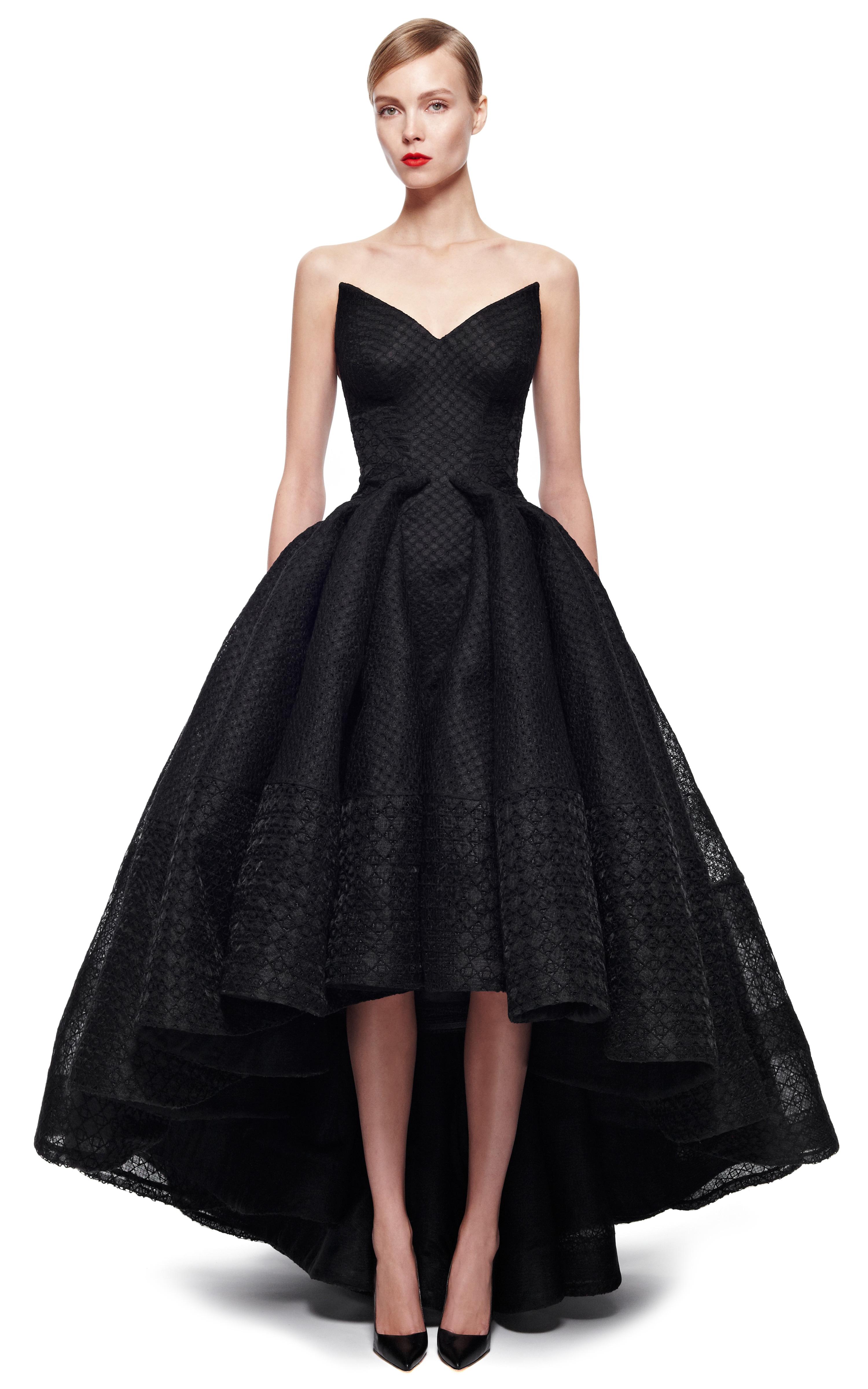 Lyst - Zac Posen Embroidered Organza Gown in Black