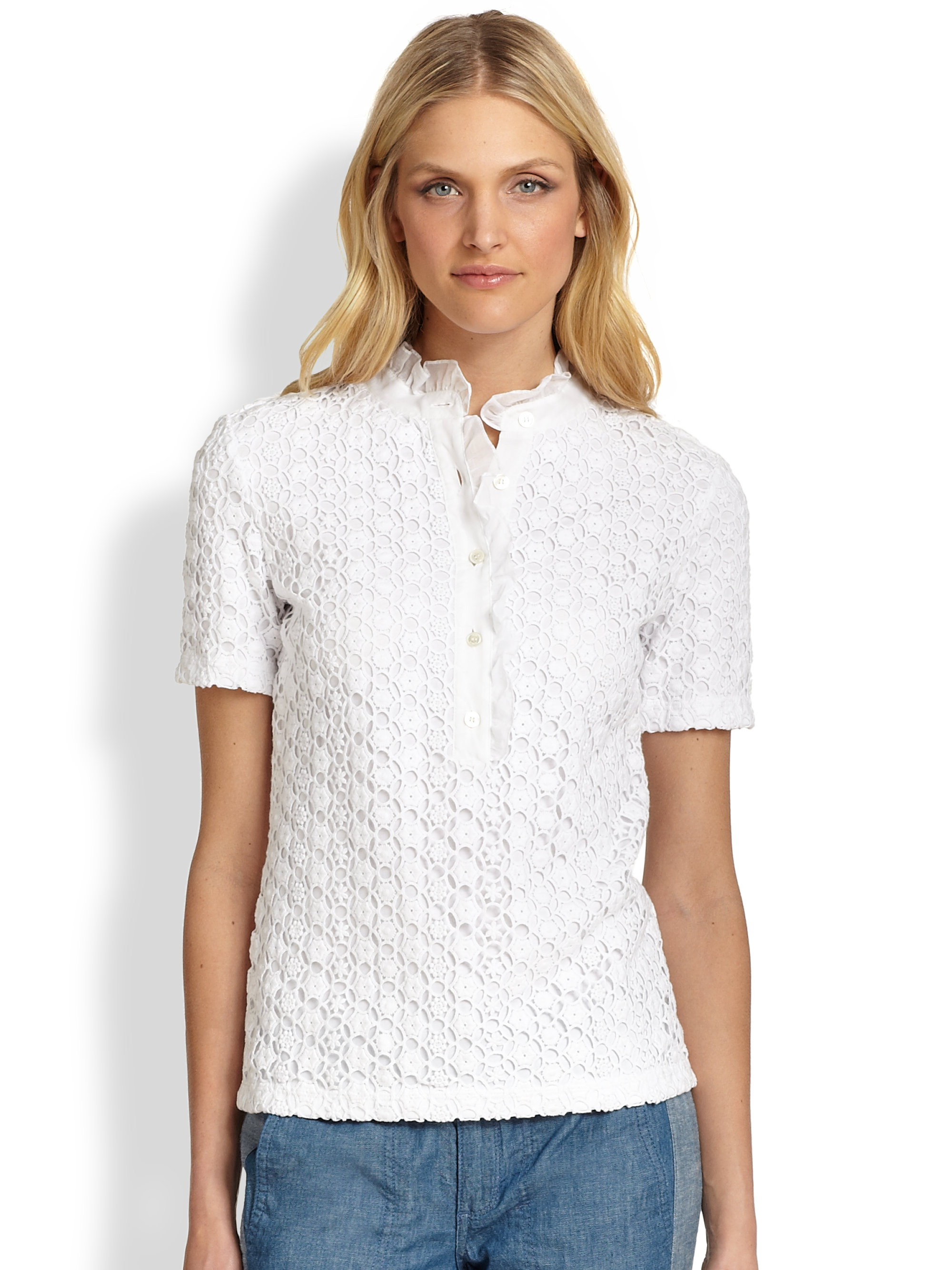 Tory Burch Lidia Lace Polo Shirt In White Lyst