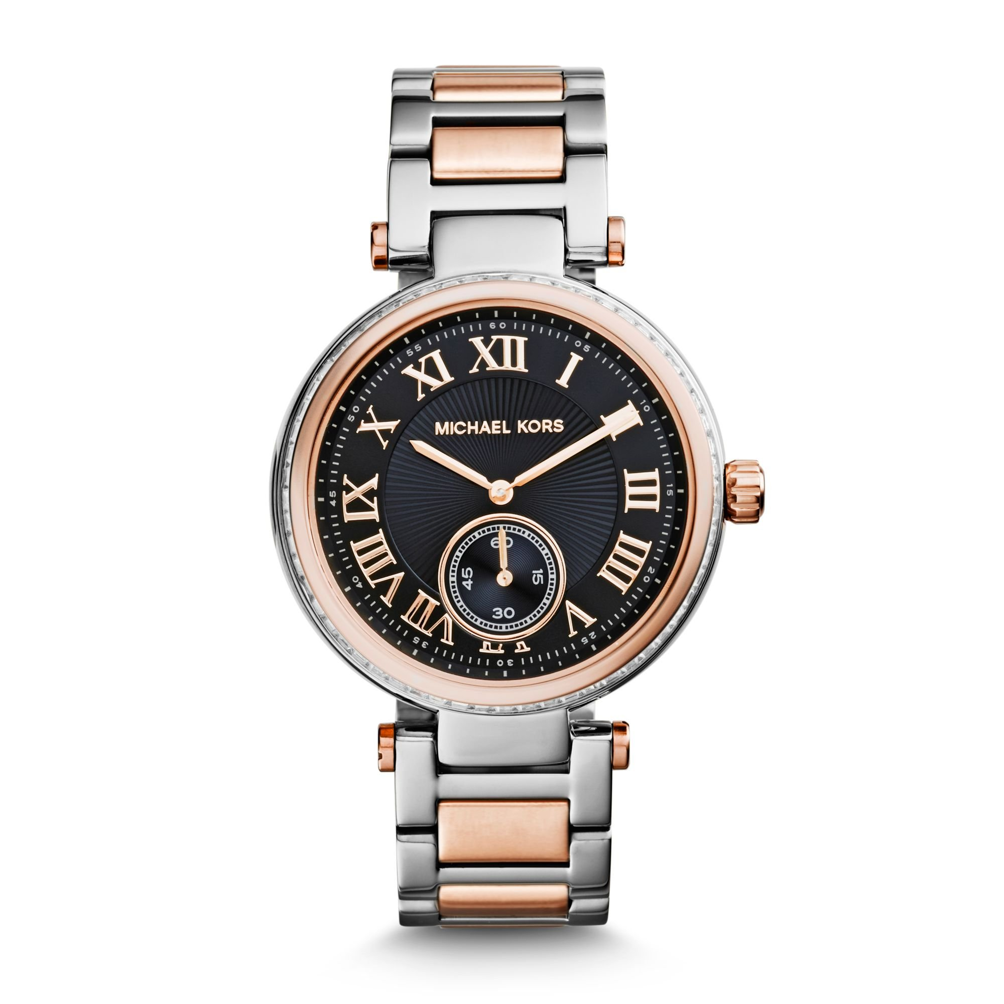 Lyst michael kors skylar silver and rose gold tone bracelet watch in pink for Watches michael kors