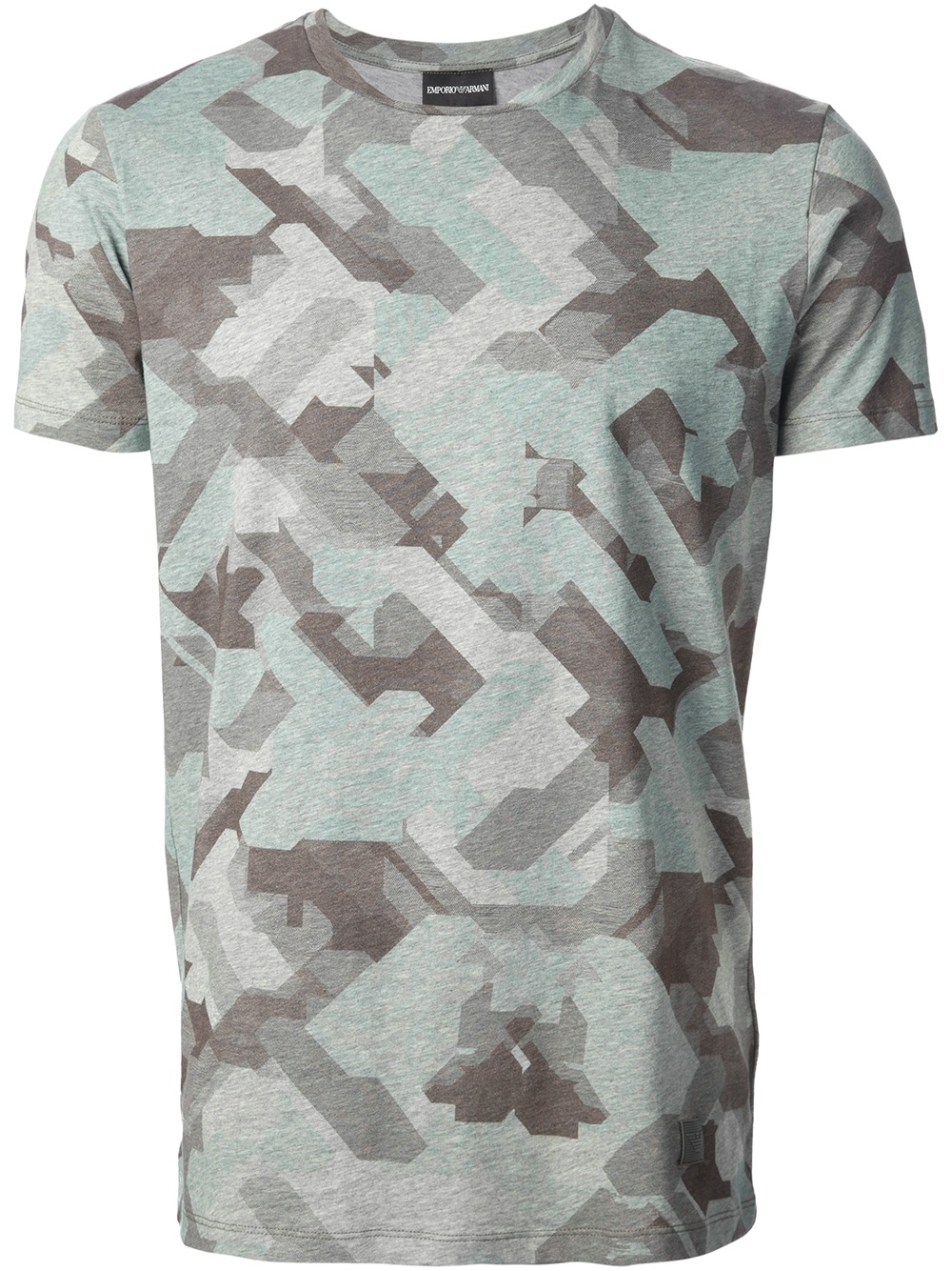 emporio armani camouflage print tshirt in green for men lyst. Black Bedroom Furniture Sets. Home Design Ideas