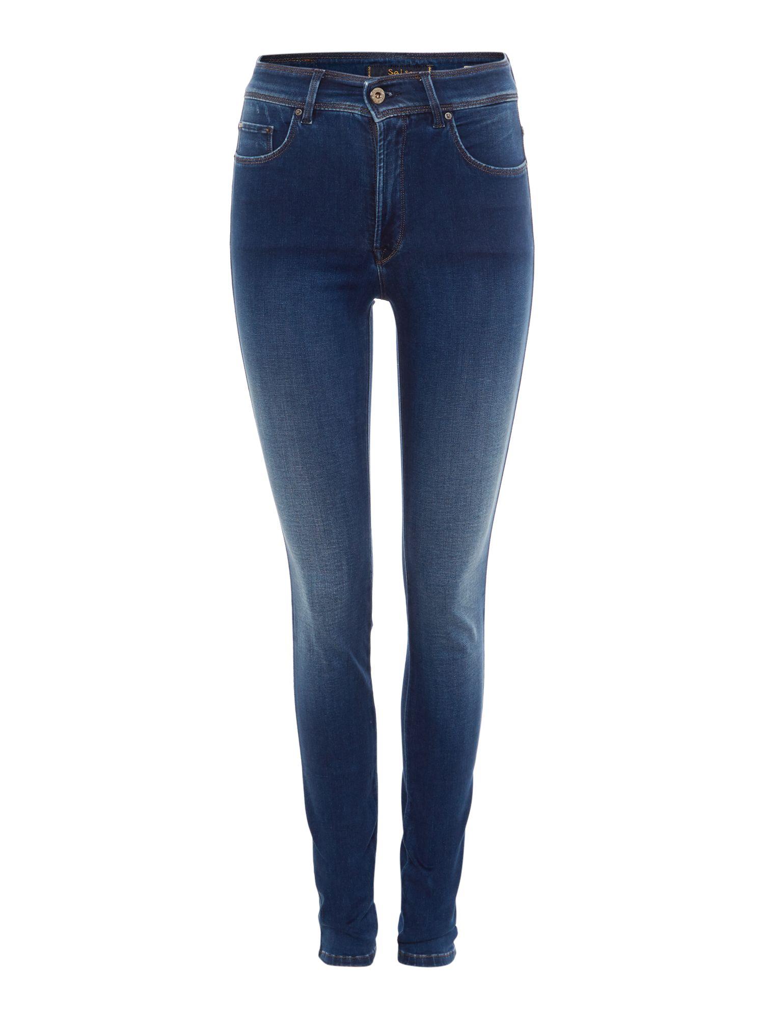 salsa high waist skinny carrie jean in mid wash in blue lyst. Black Bedroom Furniture Sets. Home Design Ideas