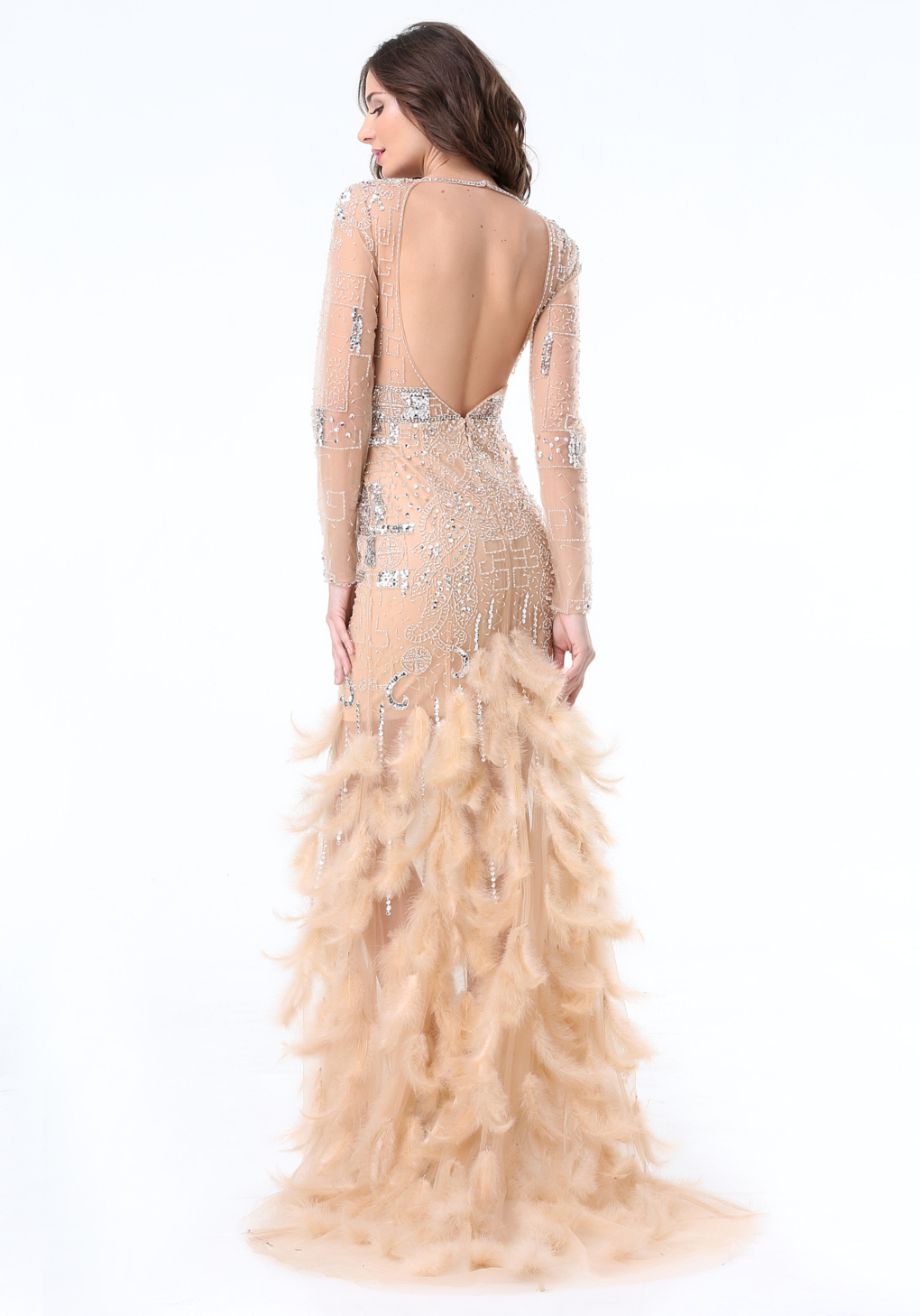 Lyst Bebe Jewel Amp Feather Gown In Natural
