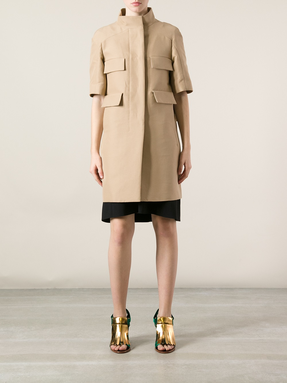 Marni Short Sleeve Coat in Natural | Lyst