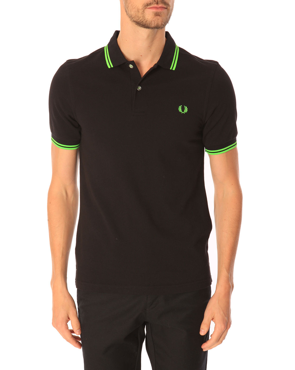 Fred perry slim fit black polo shirt with contrasting neon for Black fitted polo shirt