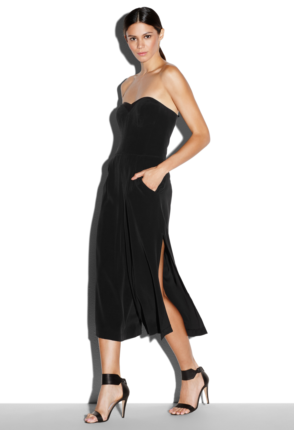 1f6fd6c38e68 Lyst - MILLY Sandwashed Silk Strapless Culotte Jumpsuit in Black