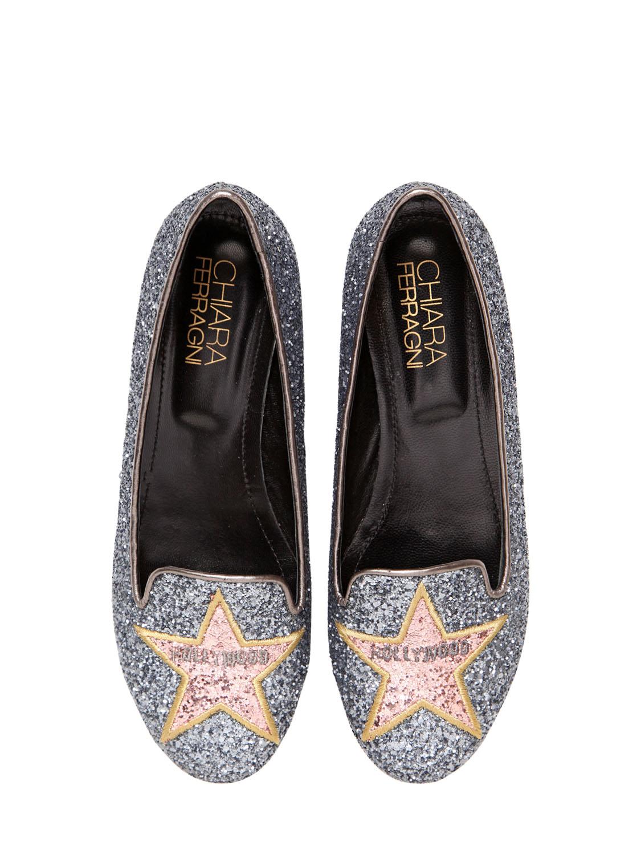 70b939b8014 Chiara Ferragni Hollywood Star Glitter Loafers in Gray - Lyst