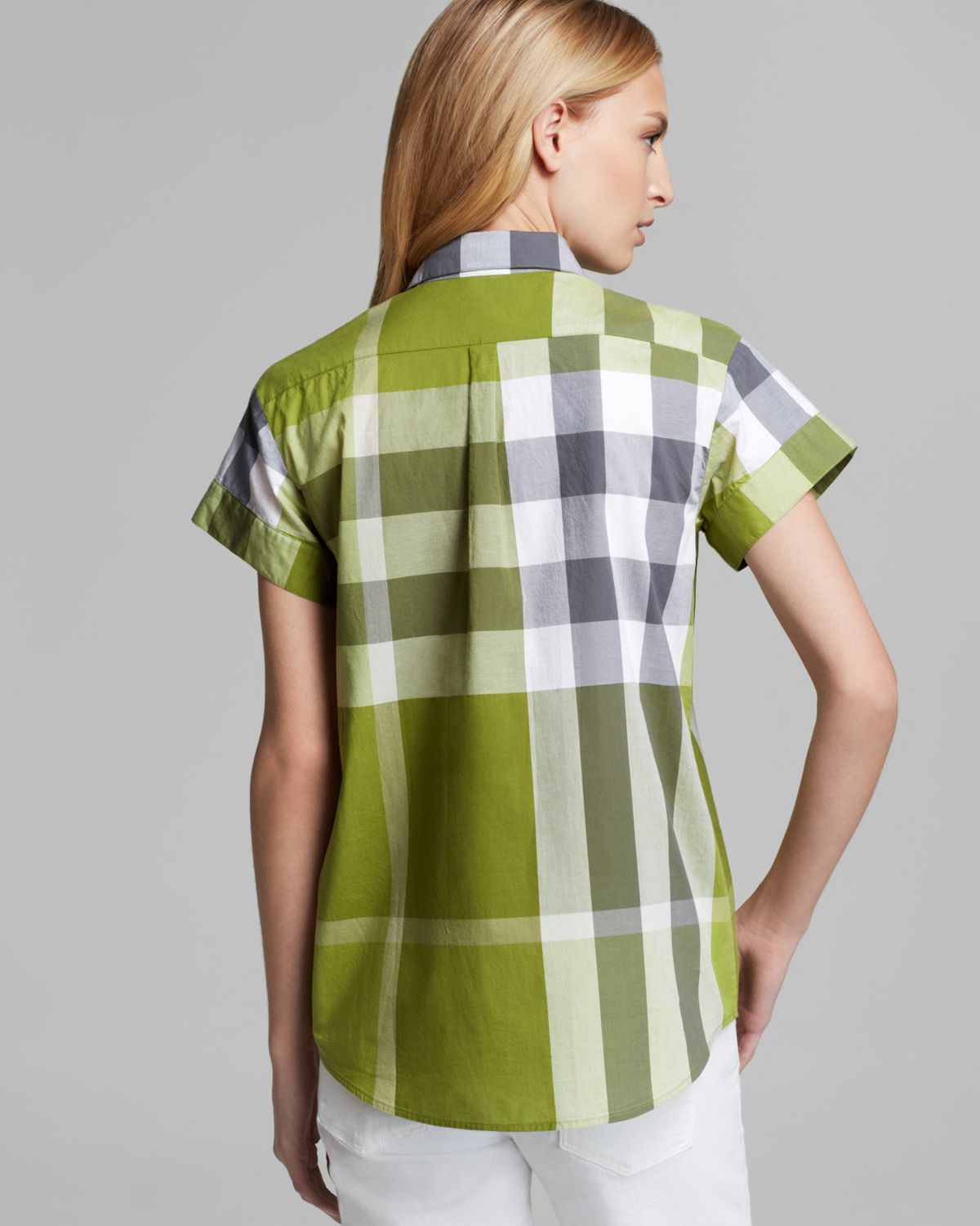 Burberry brit exploded check short sleeve button shirt in for Burberry shirt size chart