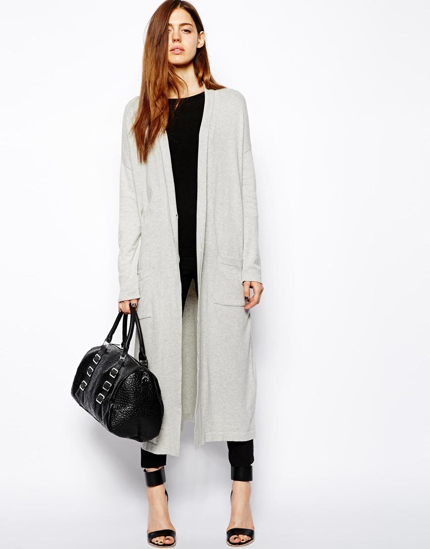 Asos Longline Oversize Cardigan in Gray | Lyst