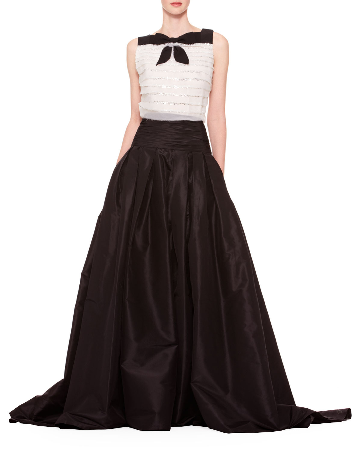 Carolina herrera Long A-line Silk Skirt in Black | Lyst