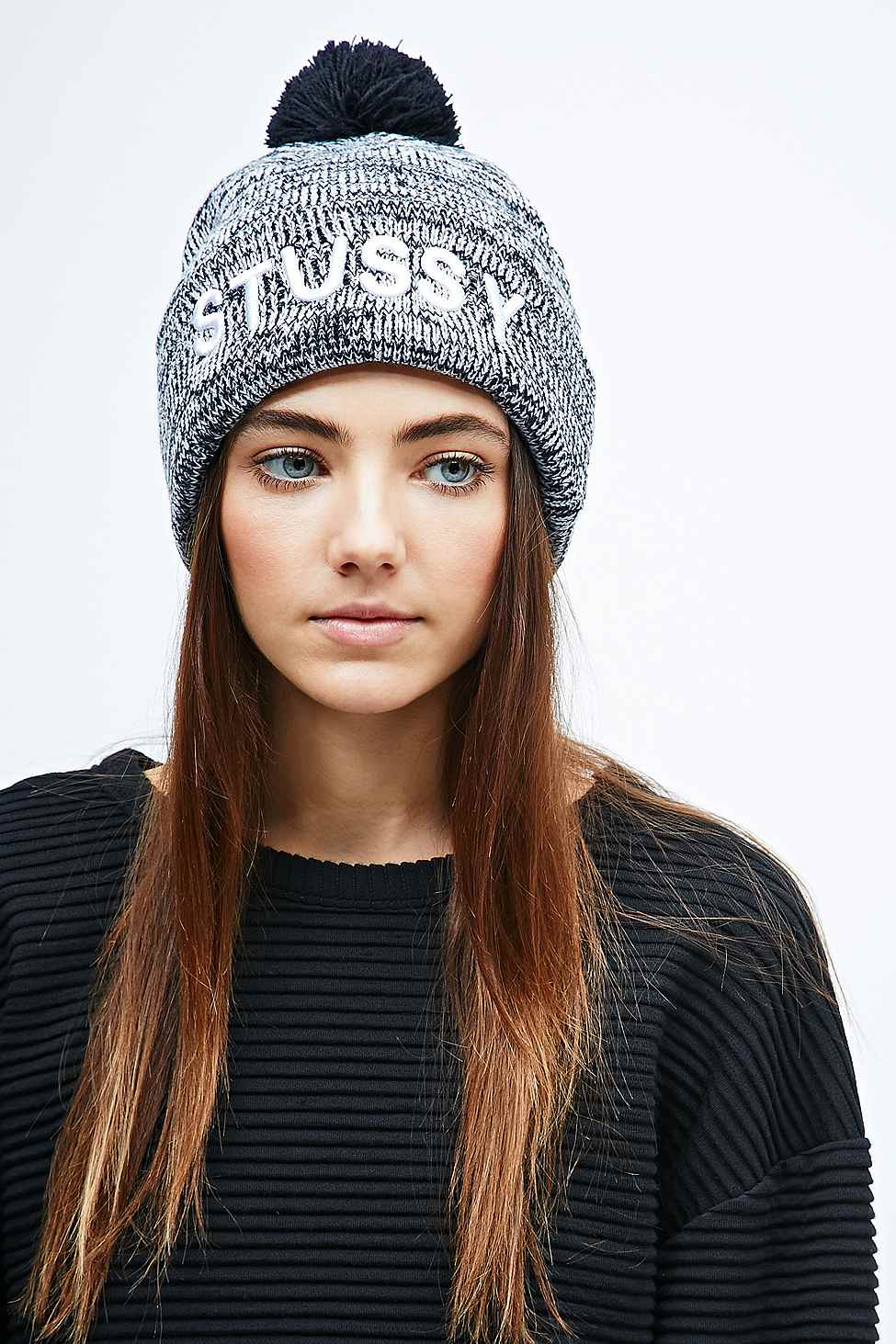 Stussy Marble Pom Pom Beanie in Grey and Black in Gray - Lyst 9d79366db9e