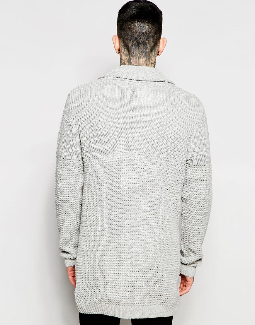 Asos Longline Shawl Neck Cardigan in Gray for Men | Lyst