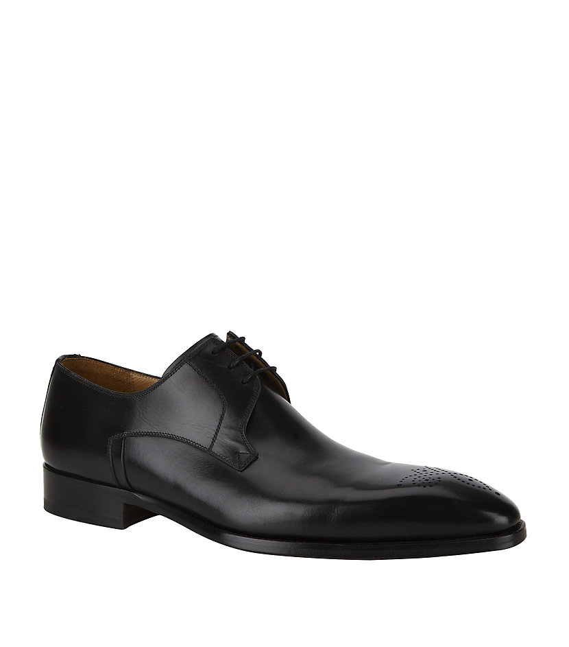 magnanni punched toe derby shoe in black for lyst