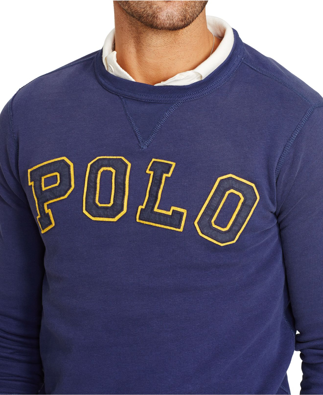 60d46dc9da1e Lyst - Polo Ralph Lauren Fleece Crewneck Sweatshirt in Blue for Men