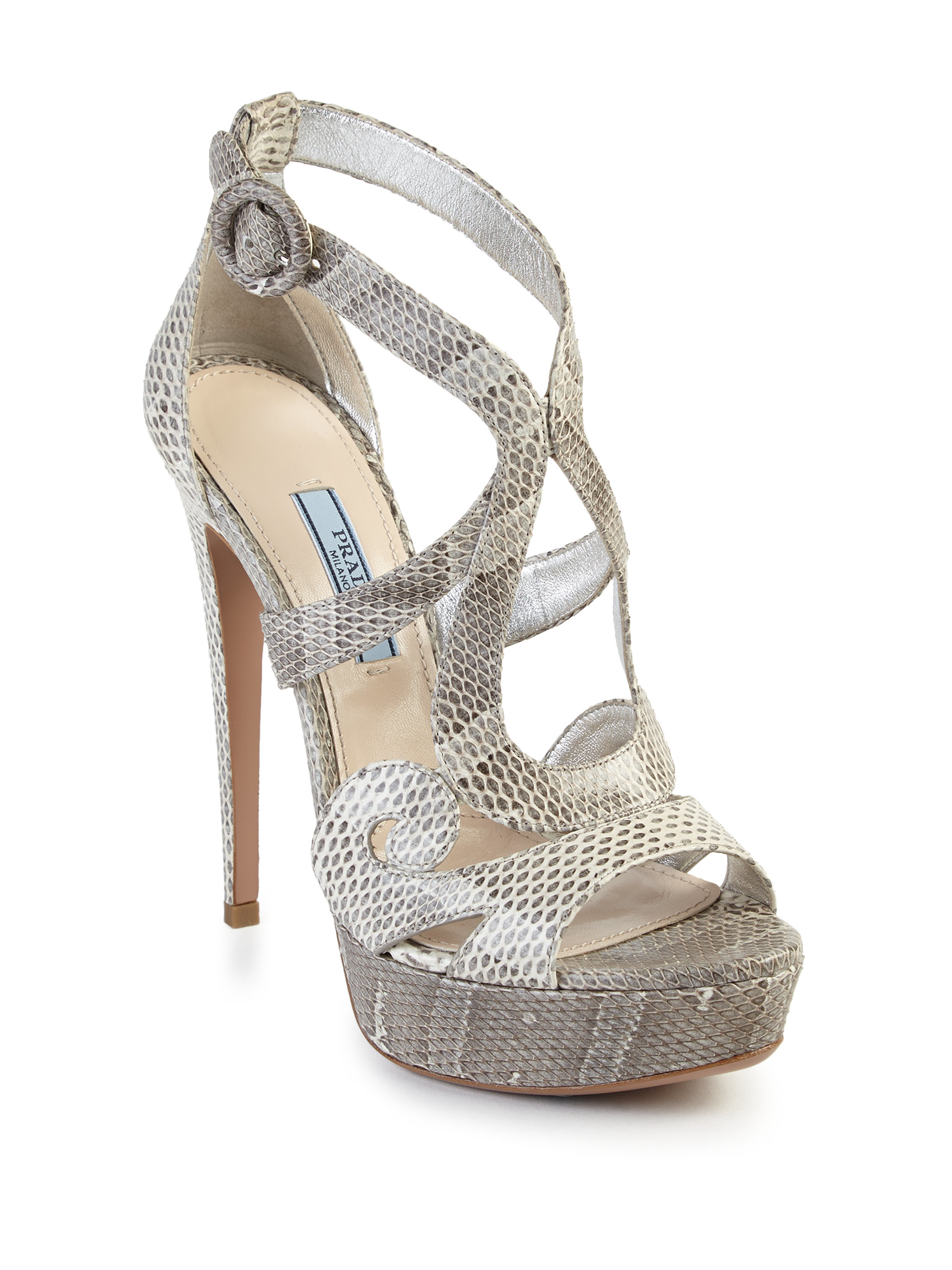 outlet the cheapest 100% authentic Prada Snakeskin Platform Sandals lowest price cheap price wholesale price cheap online outlet good selling LyUFS