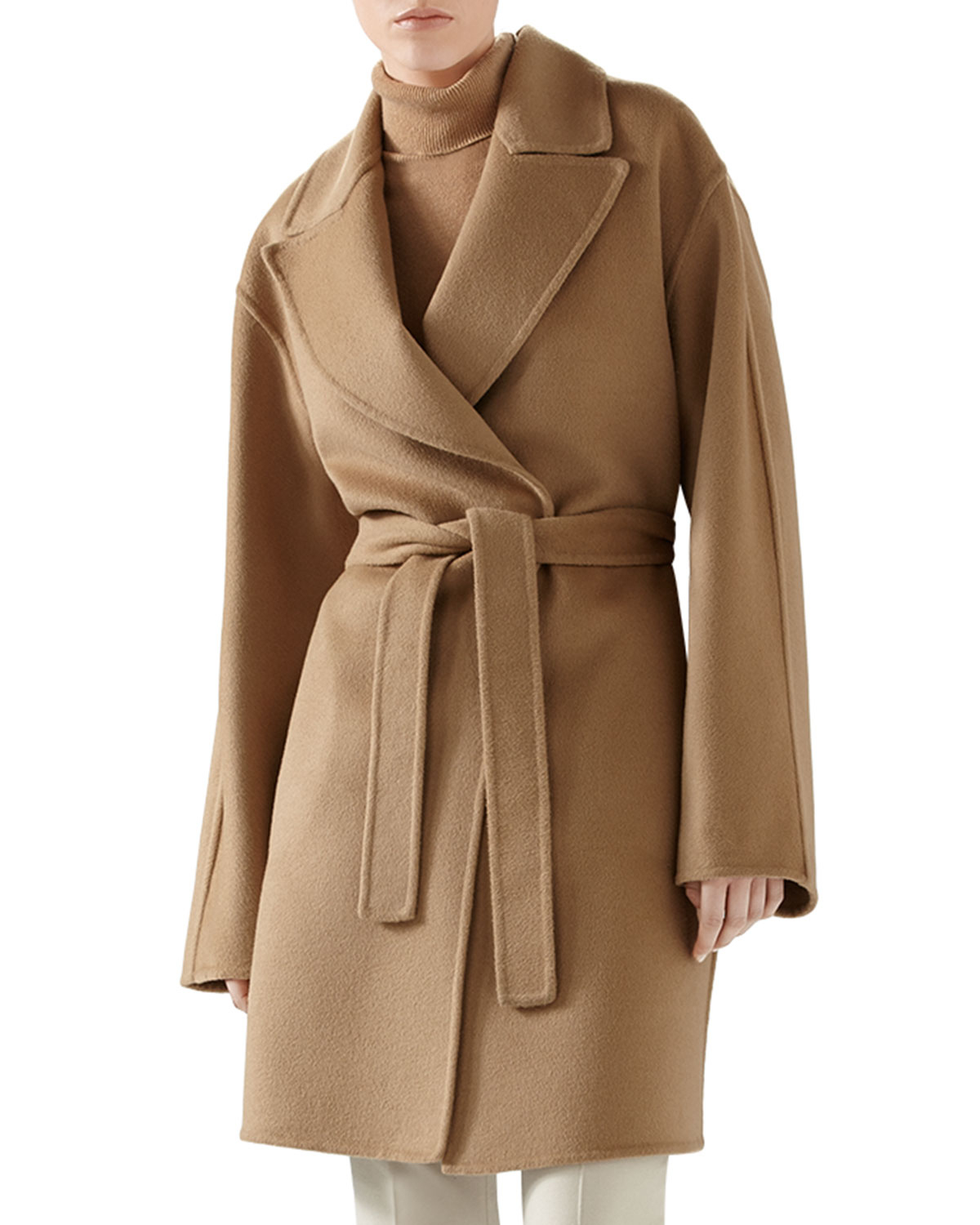 Gucci Double Wool Wrap Coat in Brown | Lyst