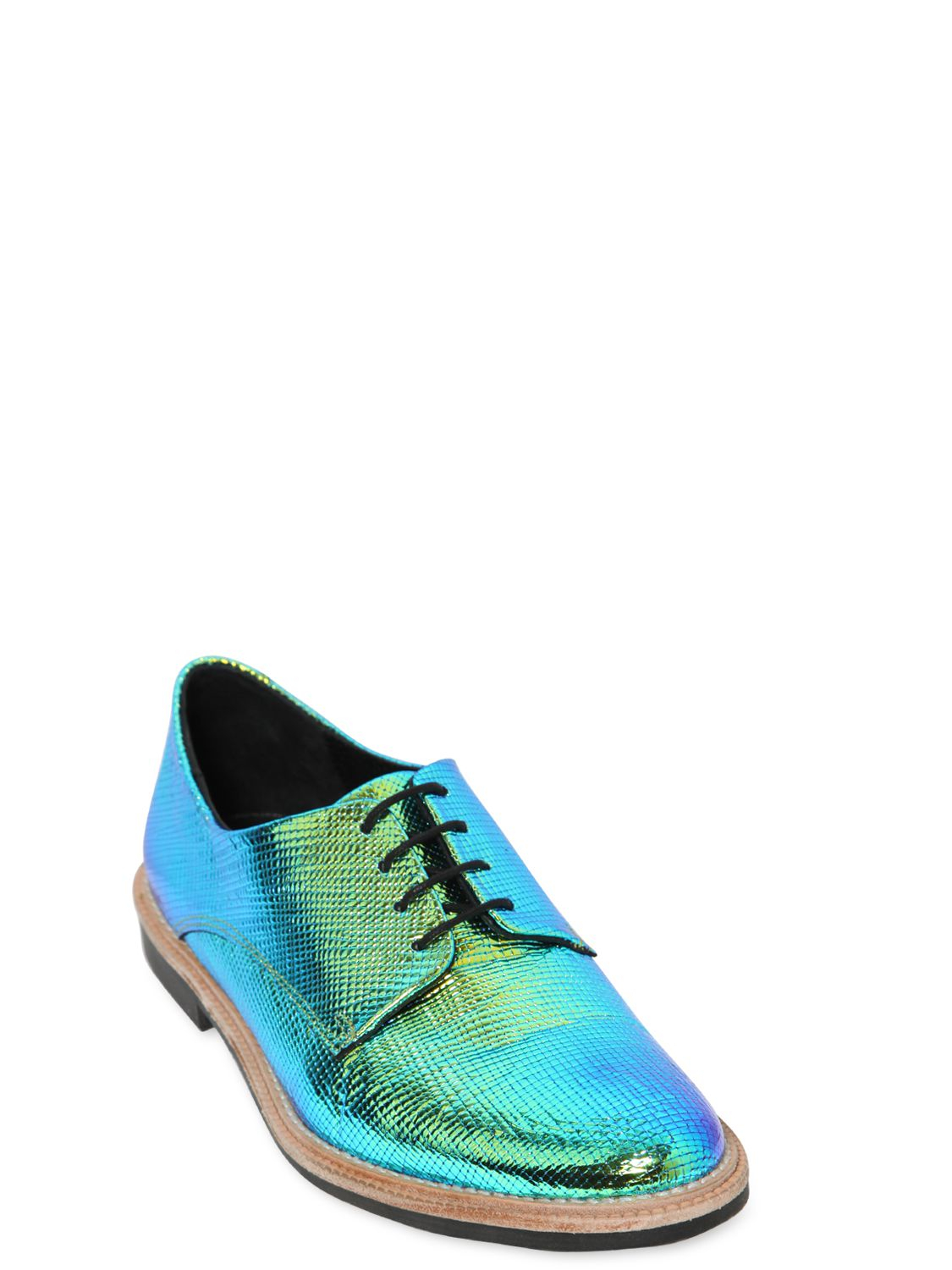 Lyst Miista 20mm Leather Iridescent Textile Shoes