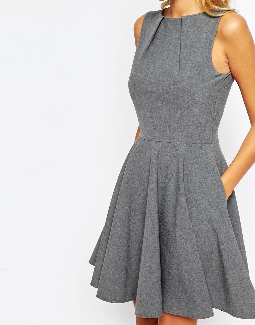 Lyst - Closet Full Circle Skater Dress in Gray