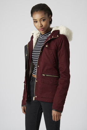 Topshop Borg Lined Short Padded Parka Jacket in Purple | Lyst