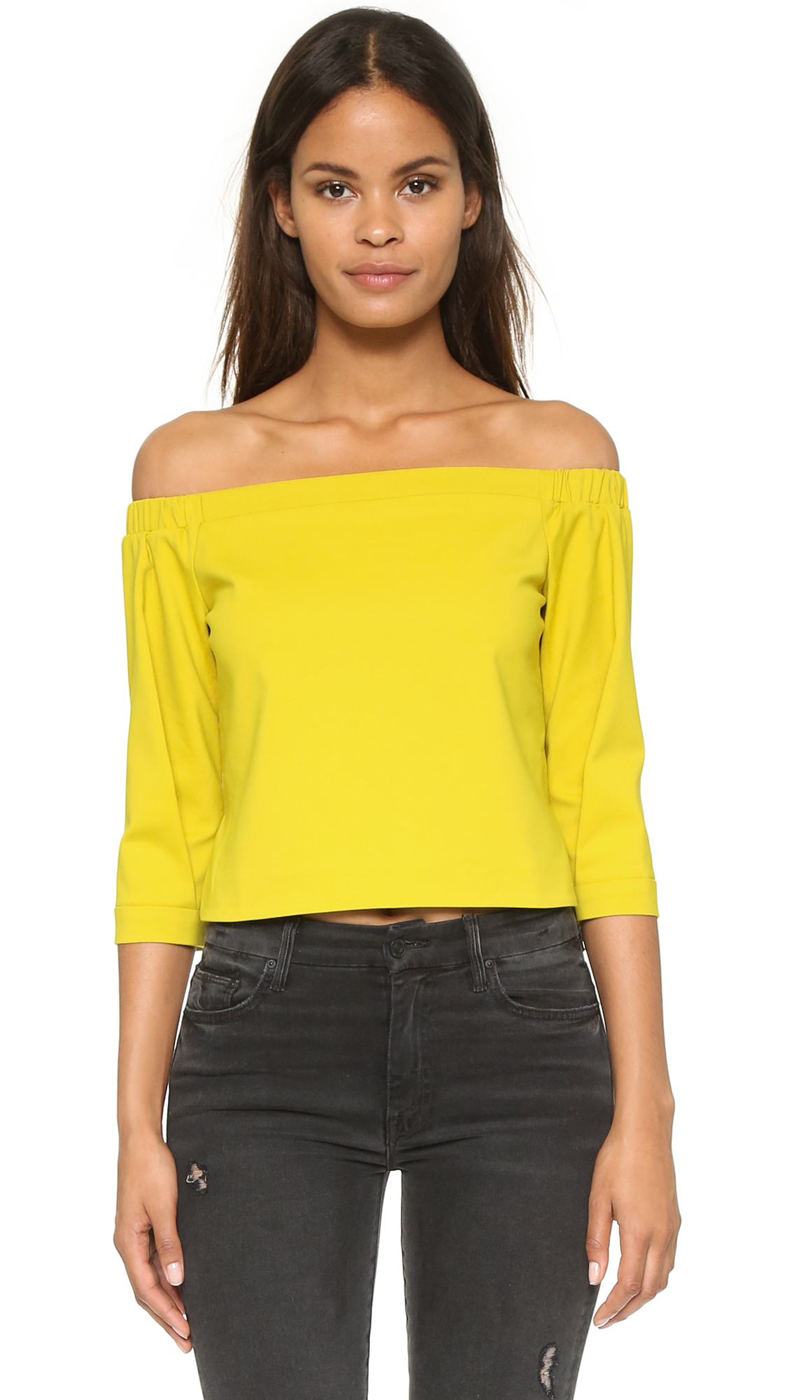 09b69c1b0e9a Lyst - Tibi Off Shoulder Top in Yellow
