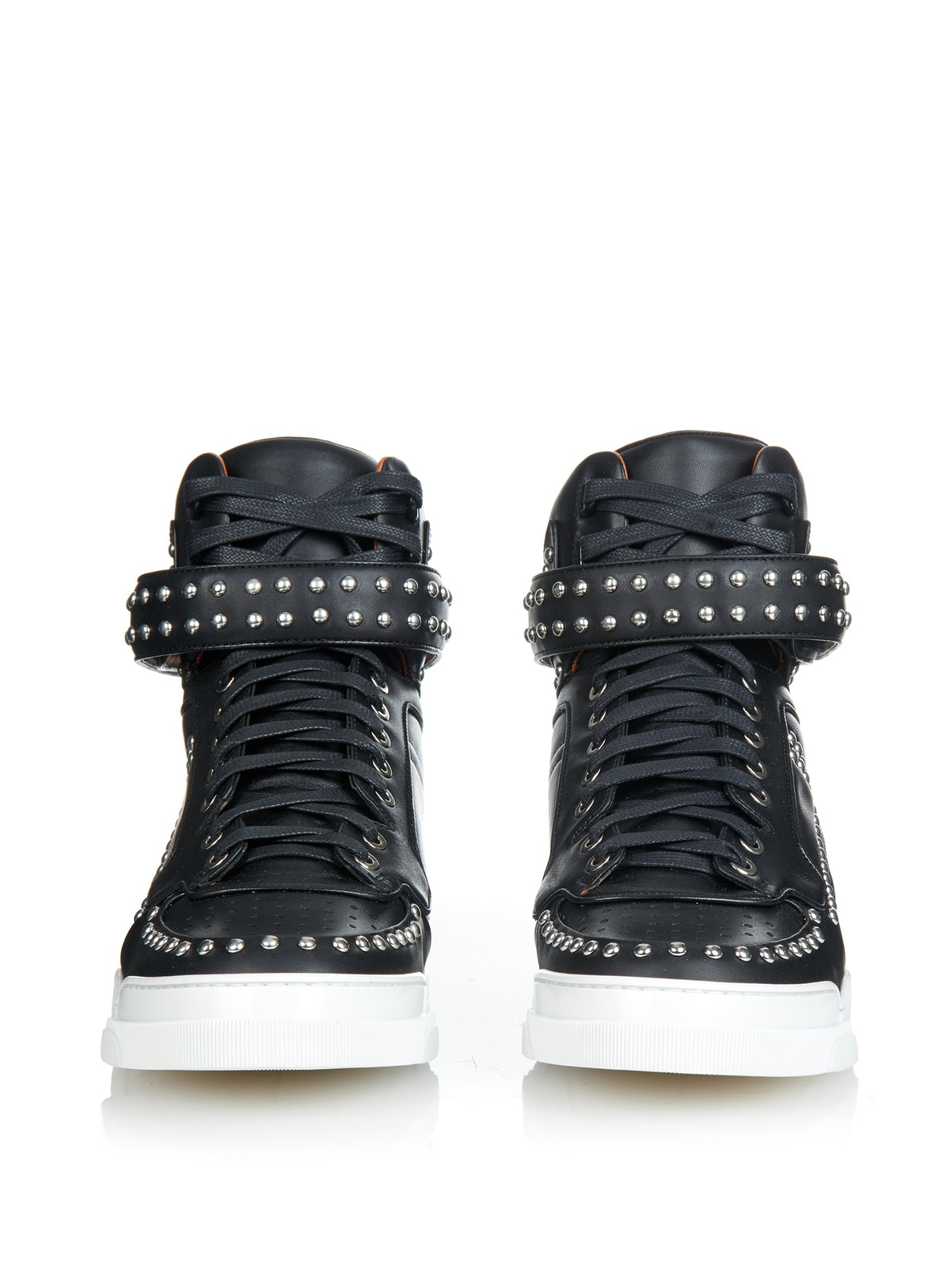 Lyst - Givenchy Tyson Studded Leather High-Top Sneakers in Black d08b82082