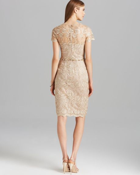 David Meister Dress Short Sleeve Metallic Lace Beaded